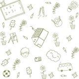Zielonego domu dzieciaków szczęśliwy doodle Zdjęcia Royalty Free