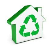 Zielonego domu ikona Przetwarza symbol Obrazy Stock