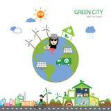 Zielonego domu save planeta Obrazy Royalty Free