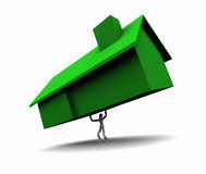 zielonego domu udźwigu mężczyzna Fotografia Royalty Free