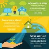 Zielonego energetycznego sztandaru horyzontalny set, mieszkanie styl royalty ilustracja