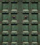 Zielonego grunge drewniany drzwi Obrazy Stock
