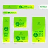 Zielonego i żółtego sztandaru reklamowi szablony Obraz Stock