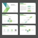 Zielonego i błękitnego Infographic elementów ikony prezentaci szablonu płaski projekt ustawia dla reklamowej marketingowej broszu Fotografia Royalty Free