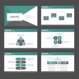 Zielonego i czarnego Infographic elementów ikony prezentaci szablonu płaski projekt ustawia dla reklamowej marketingowej broszurk Obraz Royalty Free