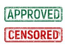 Zielonego i czerwonego rocznika znaczek z grunge skutkiem zatwierdzający i cenzurujący wirował na odosobnionym tle royalty ilustracja