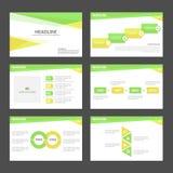 Zielonego i yellowInfographic element prezentaci szablonu płaski projekt ustawia dla broszurki ulotki ulotki marketingu Obrazy Royalty Free