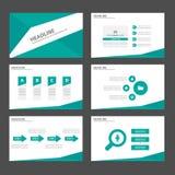Zielonego Infographic elementów ikony prezentaci szablonu płaski projekt ustawia dla reklamowej marketingowej broszurki ulotki Obrazy Royalty Free