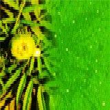 Zielonego koloru dorośnięcia kwiatu rozmyty widok od wśrodku szklanego okno tła komputer wytwarzającego wizerunku tapetowego proj ilustracja wektor