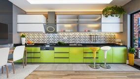 Zielonego koloru projekta wystroju kuchenny pomysł Obraz Stock