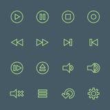 Zielonego konturu odtwarzacza medialnego różnorodne ikony ustawiać Obraz Royalty Free