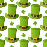 Zielonego Leprechaun Kapeluszowy Bezszwowy wzór Zdjęcie Royalty Free