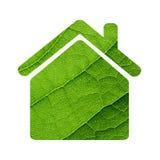 Zielona liścia domu ikona. Obrazy Royalty Free