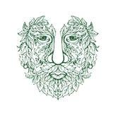 Zielonego mężczyzna głowy przodu mandala Zdjęcia Stock