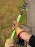 Zielonego Nylonowego jacketed 576 włókna światłowodowego tasiemkowy kabel Zdjęcie Royalty Free