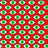 Zielonego oka czarownica, Halloween, psychodeliczny bezszwowy wzór ilustracja wektor