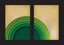 Zielonego okręgu tła abstrakcjonistyczny szablon z kartonem Zdjęcia Royalty Free