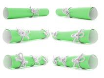 Zielonego papieru ślimacznicy wiązać z handmade sznurami i kępki odizolowywać Zdjęcie Royalty Free