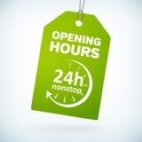 Zielonego papieru 24h nonstop godzin otwarcia etykietka Zdjęcia Stock
