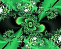 Zielonego phosphorescent fractal abstrakcjonistyczny t?o, kwiaciasta tekstura obrazy royalty free