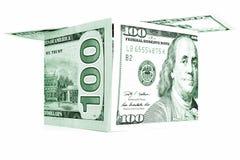 Zielonego pieniądze chałupa, dolarowa kabina, waluty hutch, banknotu dom Fotografia Royalty Free