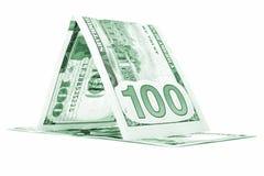 Zielonego pieniądze psiarnia, dolarowa tratwa, waluty chałupa odizolowywająca na bielu Fotografia Royalty Free