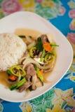Zielonego pieprzu wołowiny warzywo stirfry Fotografia Stock