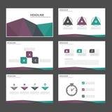 Zielonego purpurowego czarnego Infographic elementów ikony prezentaci szablonu płaski projekt ustawia dla reklamowej marketingowe Fotografia Royalty Free