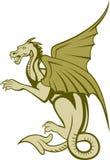 Zielonego smoka ciała Folująca kreskówka Obraz Royalty Free