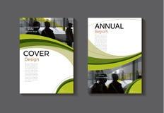 Zielonego szablon książkowej pokrywy projekta nowożytna okładkowa abstrakcjonistyczna broszurka ilustracji