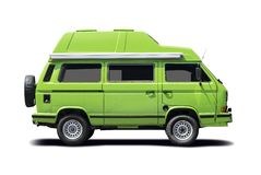Zielonego VW obozowicza boczny widok Fotografia Stock