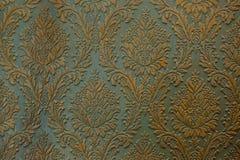 Zielonego złota ściany ornamentu tekstury tło Obraz Stock