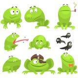 Zielonej żaby Śmieszny charakter - set Różne emocje ilustracja wektor