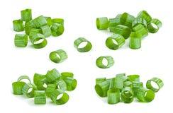 Zielonej cebuli siekający plasterek Zdjęcie Royalty Free