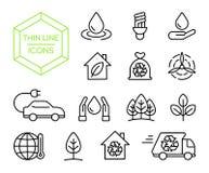 Zielonej energetycznej natury pomocy ikony cienki kreskowy set ilustracji