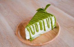 Zielonej herbaty krepy tort Zdjęcie Royalty Free