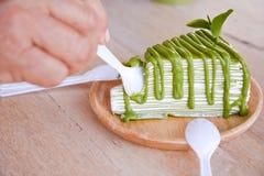 Zielonej herbaty krepy tort Zdjęcia Royalty Free