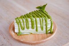 Zielonej herbaty krepy tort Obrazy Stock