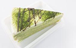 Zielonej herbaty krepy tort fotografia royalty free