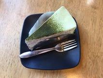 Zielonej herbaty krepy tort Fotografia Stock