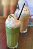 Zielonej herbaty matcha latte frappe Zdjęcia Stock