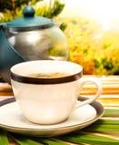 Zielonej Herbaty przerwa Reprezentuje orzeźwienia Cukiernianych I Restauracyjnych obrazy royalty free
