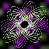 Zielonej i purpurowej linii abstrakcjonistyczny kształt na rozmytym czarnym tle z Zdjęcie Stock