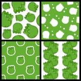 Zielonej kapusty Bezszwowi wzory Ustawiający Obrazy Stock