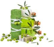Zielonej oliwki kosmetyka produkty Obrazy Royalty Free