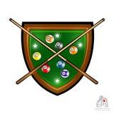 Zielonej osłony bilardowa deska z piłkami i krzyżować wskazówki na bielu Sporta logo dla jakaś drużyny ilustracja wektor