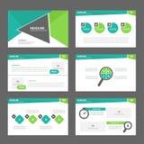 Zielonej prezentacja szablonu sprawozdania rocznego broszurki ulotki elementów ikony płaski projekt ustawia dla reklamowej market Zdjęcie Royalty Free