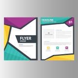 Zielonej Purpurowej sprawozdanie roczne prezentaci szablonu broszurki ulotki elementów ikony płaski projekt ustawia dla reklamowe Obrazy Stock