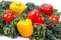 Zielonej sałatki liście i warzywa, Zdrowy stylu życia pojęcie Zdjęcia Stock