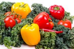 Zielonej sałatki liście i warzywa, Zdrowy stylu życia pojęcie Fotografia Stock